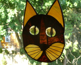 Cat Face Stained Glass Beautiful Browns Gorgeous Gold eyes