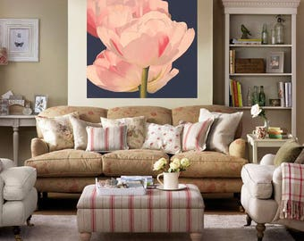 Pink Tulips Painting - Double Tulips in Dappled Sunlight Acrylic on Canvas Large Floral Botanical Wall Art