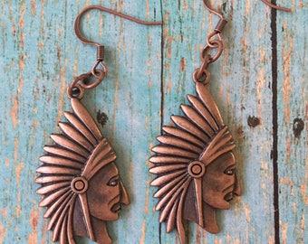 Indian Chief Head Earrings Copper Pewter Dangle Boho Pierced