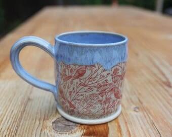 Stoneware Mug with Birds and Blue Glaze
