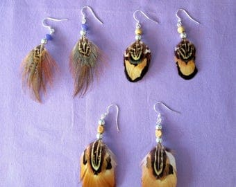 Set of three pairs of pheasant feather earrings  . . . set 135