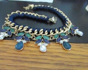navy chain rhinestone bib