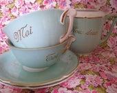 Vintage Tea Set, Romantic Tea For Two, Vintage Trio, Tea Set, Vintage Porcelaine, French Tea Cups, Wedding Gift, Couple Cups And Saucers