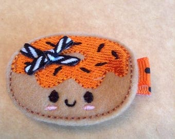 Felt Embroidered Halloween Donut Hair Clip, Hair Bows, Toddlers Hair Clippie, Girls Halloween Hair Bows, Frosted Donut (Item 16-460)