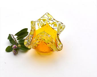 Fused glass candle holder, votive, folded square, yellow, transparent, clear