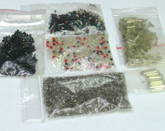 Lot of Vintage Black, Silver, Red, Blue, Seed and Cylinder Beads