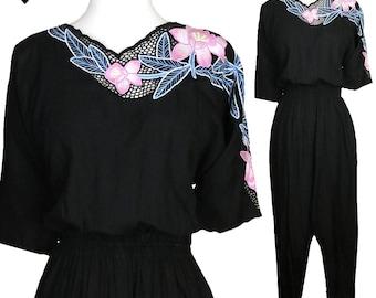 Vintage 70s 80s Black Floral Jumpsuit Bali Cutwork Jumpsuit S M Pink Open Net Lace Festival Buttons  Pants Short Sleeves Boho Gypsy Romper