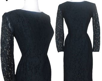 Vintage 60s Dress // Black Lace Party Dress S Cocktail Prom Dance 50s Style Sheer Long Sleeves Floral LBD Audrey Rockabilly Pinup Mad Ad Men