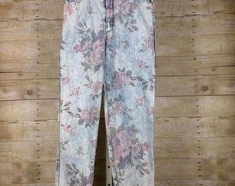 ON SALE Vintage Blue Acid Wash Floral High Waist Jeans Misses 11/12 S