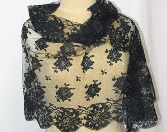 Lace Scarf, Black Lace Scarf, Net Lace Scarf, Floral Lace Scarf, Lace Mantilla, Lace Head Scarf, Floral Lace Head Scarf, Long Lace Scarf,
