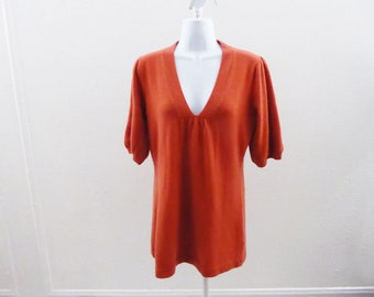 100% Cashmere Sweater Size S Orange V Neck Womens Cullen 38 Chest Babydoll Tunic