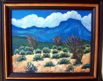 Original Desert Bliss Painting,rich colors,in gold and brown wood frame/arizona/CA./Linda Kelly/ocotillos/cactus
