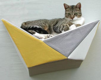 Cat shelf wall bed in sunny yellow and grey geometric