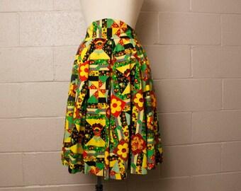 Vintage 1970's Circle Skirt Contra Dance 28 waist
