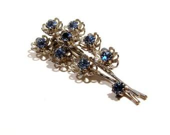Blue Rhinestone Flower Pin