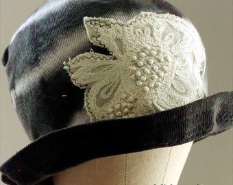 Black Sibori Cotton Cloche Hat featuring Embroidered Applique