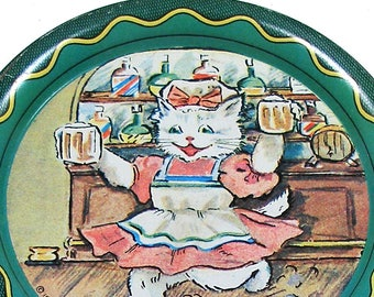 1960s Tin litho Toy Tea Plate, Cat waitress with mugs. Lithographed coaster.