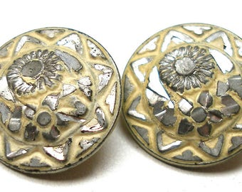 """2 Antique BUTTONS, Victorian brite cut flowers in pale yellow. 5/8""""."""