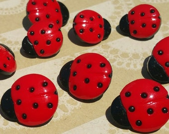 "Ladybug Buttons - Lady Bug Sewing Button Red Black Polka Dot Shank Loop - 1/2"" and 11/16"" Wide - 12 Buttons"