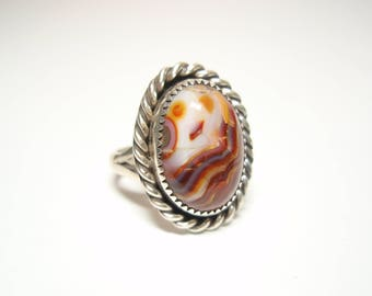 Red and White Agate Gemstone and Sterling Silver Hand Made Ring Size 7 and Half