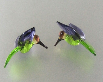 Lampwork Beads Glass Hummingbird Beads Grass Green and Dark Purple Hummingbirds Bird Beads RC Art Glass Lampwork Handmade Glass Beads