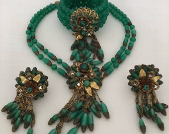 Complete SET 1950s Jonne Schrager Jewelry Green