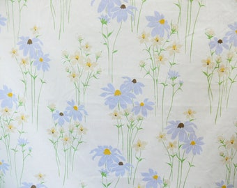Vintage 80s Floral Field Wild Flowers Twin 2pc Sheet Set Flat Fitted Bed Bedding Periwinkle Bohemian Cottage Chic