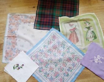 six vintage print and embroidered hankies