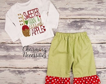 SALE NEW Fall Thanksgiving Outfit, Baby Toddler Girl Clothes, Top Ruffle Pants Set, Sweet Than a Caramel Apple Charming Necessities Green Re