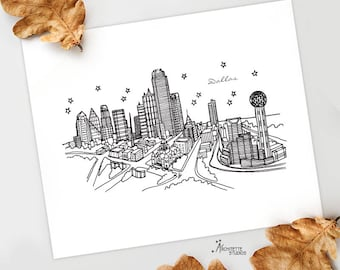 Dallas, Texas - United States - Instant Download Printable Art - City Skyline Series
