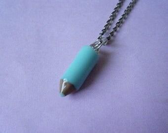 ♥♥♥♥ ♥ ♥ turquoise blue colored pencil pendant