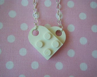 Necklace white lego heart ♥ ♥