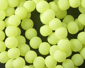 Glass Bead 100 Round 6mm Frosted Matte Green Yellow (1027gla06m1-19)