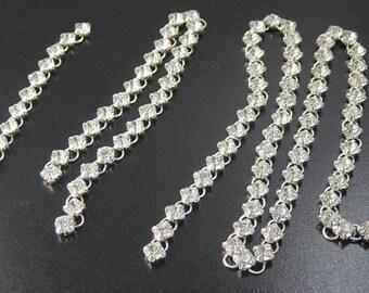 Grab Bag Silver Chain Brass Rhinestone Crystal Clear Jump Ring Iron Widows Orphans Findings Supplies (259grab1)