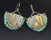 Keum-boo Earrings with Faceted Opal Beads