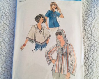 "Vintage sewing Pattern  UNCUT  simplicity 7811 Truly fabulous hippie era fashions! Misses ""Boho, Peasant, Wood Stock"" Style Blouses Size 14"