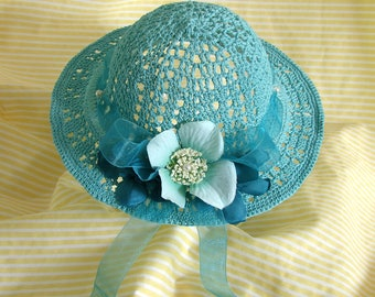 Doll Hat for American Girl Doll Aqua Doll Hat 18 Inch Doll Summer Hat Am Girl Doll Hat Aqua Crochet Doll Hat AG Doll Summer Hat Cotton Hat
