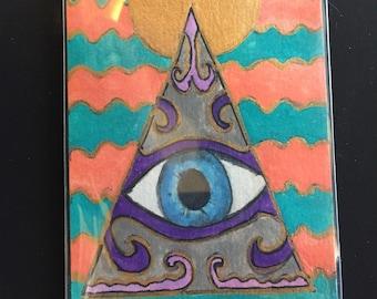 ACEO Original Pyramid and Eye painting from Tina Lynn Ellis