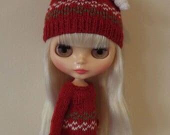 BLYTHE CHRISTMAS DRESS and Hat, Blythe Outfit, Knitted Blythe Dress and Hat, blythe winter dress, Blythe Xmas