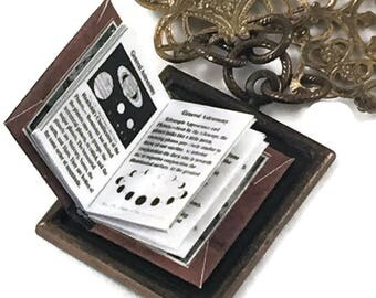 Astronomy Text Book Hidden Book Necklace with Tiny Readable Book London Science Class-Books Astronomy