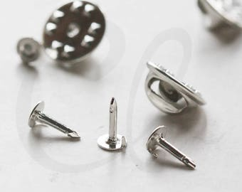 20 Sets White Gold Tone Nail or Tie Tack Blank Pin with Clutch Back - Scatter Pin- 4mm HEAD - 8mm Nail - 11.35mm Clutch (1895C-I-114D)