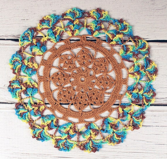 Crocheted Copper Brown Green Yellow Blue Variegated Table Topper Doily - 10 1/2""