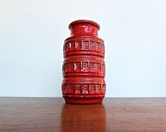 Scheurich West German Red Inka Vase, Mid Century Modern, Model 268-75