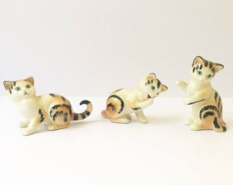 Goebel Tabby Cats Tiger Cats Set of 3 Cat figurines West Germany