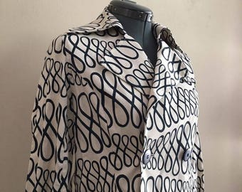 Black and white doodle spring jacket