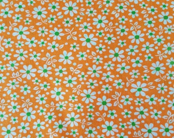 Retro Vintage Fabric Orange Green and White