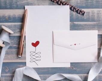 Heart Balloon Writing Set | Writing Paper | Stationary Gift Set | Gift for Her | Stocking Stuffer | Snail Mail