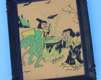 Framed Vintage Crepe Paper Halloween, Witches Around the Cauldron