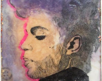 Prince painting, prince illustration, encaustic painting, purple rain, musician illustration,