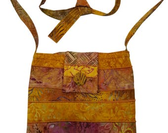 Batik Purse in Yellow Orange with Adjustable Straps